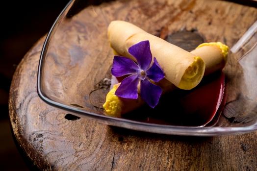 Cannone croccante con mousse di cioccolato bianco e salsa di lamponi
